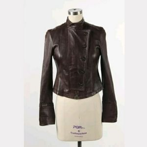 Theory Brown Leather Jacket Size 4
